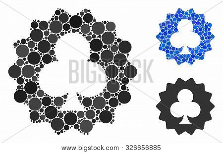 Clubs Token Composition For Clubs Token Icon Of Round Dots In Various Sizes And Color Tints. Vector