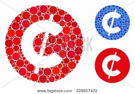 Cent Coin Mosaic For Cent Coin Icon Of Spheric Dots In Different Sizes And Color Hues. Vector Circle