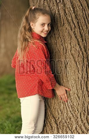 Good Vibes Only. Girl Little Cute Child Enjoy Peace And Tranquility At Tree Trunk. Place Of Power. P