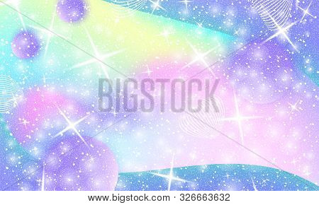 Unicorn Pattern. Mermaid Rainbow. Fantasy Universe. Fairy Background. Holographic Magic Stars. Cover