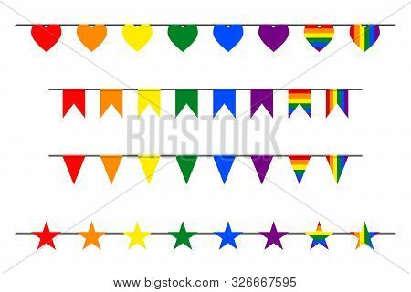 3d Carnival Garland Flags, Hearts, Stars In Colorful Rainbow Lgbt Pride Gradient Flag Colors, Festiv