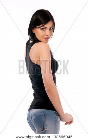 Girl In Jeans And A Black Blouse