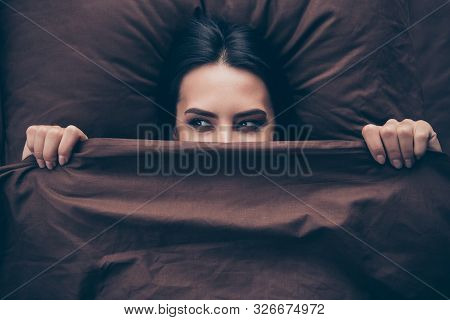 Close-up Portrait Of Her She Nice Attractive Lovely Cute Cheerful Cheery Girlish Girl Covering Hidin