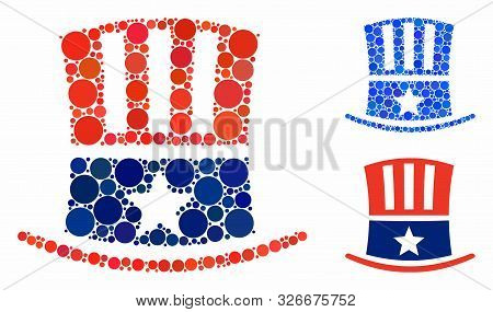 Uncle Sam Hat Composition For Uncle Sam Hat Icon Of Circle Elements In Different Sizes And Shades. V