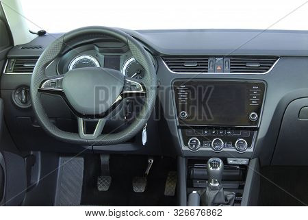 Steering Wheel And A Board With Instruments Of A Luxury Passenger Car