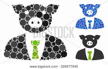 Pig Boss Mosaic For Pig Boss Icon Of Filled Circles In Various Sizes And Color Hues. Vector Filled C