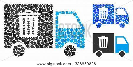 Rubbish Transport Van Mosaic For Rubbish Transport Van Icon Of Spheric Dots In Various Sizes And Col