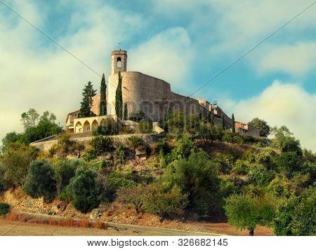 Mediaeval Walled Village Montfalco Murallat On The Hill In Segarra, Province Lleida (catalonia, Spai