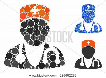 Physician Composition For Physician Icon Of Round Dots In Different Sizes And Color Hues. Vector Rou
