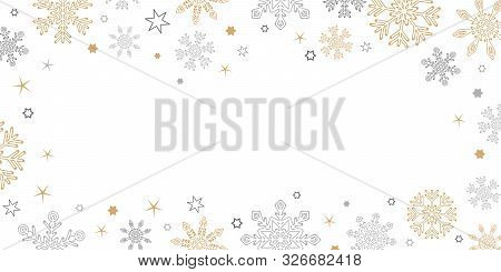 Gold And Silver Christmas Snowflake Border On White Background Vector Illustration Eps10