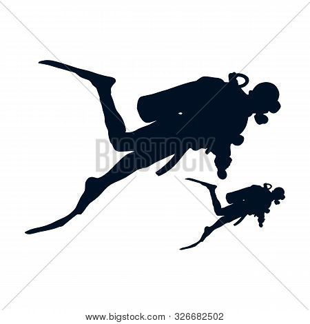 Diver Icon In Two Color Design Style. Diver Vector Icon Modern And Trendy Flat Symbol For Web Site,