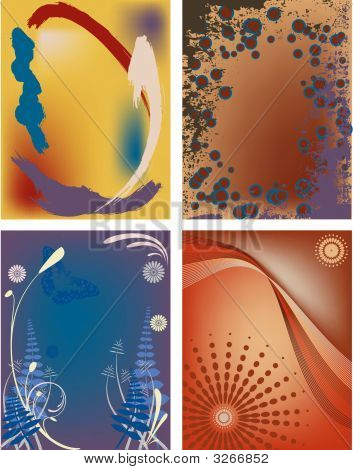 Four Modern Postcard Backgrounds