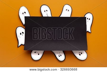 Hallowen Storytelling. Composition Of Ghosts Thinking About Crafty Plan Around Black Frame With Copy