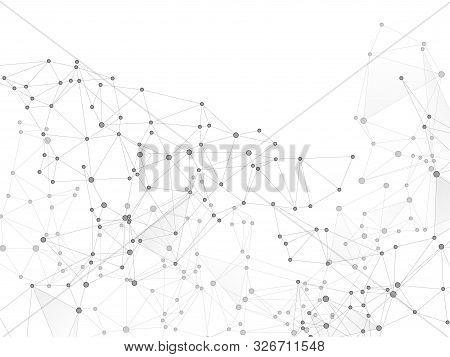 Big Data Cloud Scientific Concept. Network Nodes Greyscale Plexus Background. Future Perspective Bac