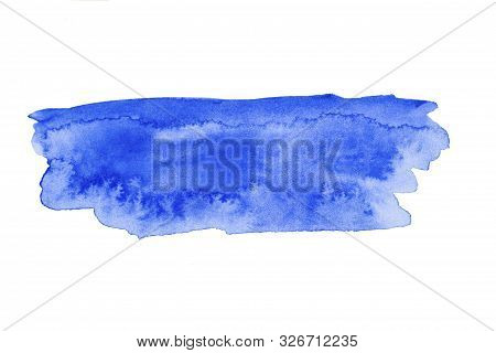 Blue Wide Watercolor Brushstroke Backdrop. Hand Drawn Water Strokes, Paper Texture, Isolated Spot On