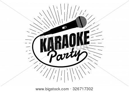 Karaoke Party Night Live Show Open Mike Sign. Classic Performer Vocal Microphone With Line Rays. Vec