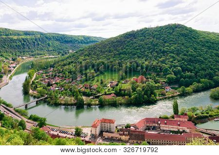 Landscape From Citadel Of Besancon With River Doubs At Bourgogne