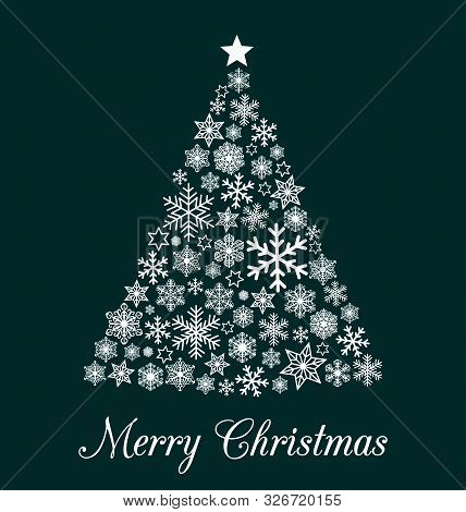 Christmas Greeting Card With White Triangel Christmas Tree Made From Various Snowflakes With Text Me