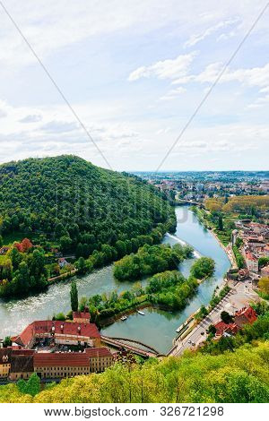 Landscape From Citadel In Besancon And River Doubs Of Bourgogne