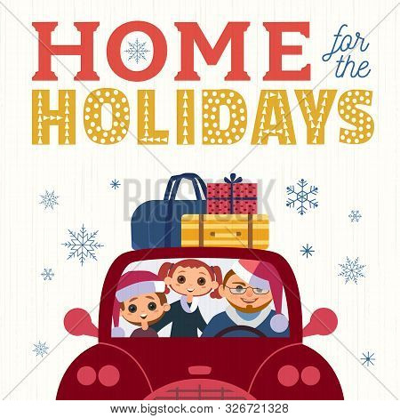 Happy Holidays Hand Drawn Vector Poster. Cute Family, Kids Father In Santa Claus Hat Drive Car Playf