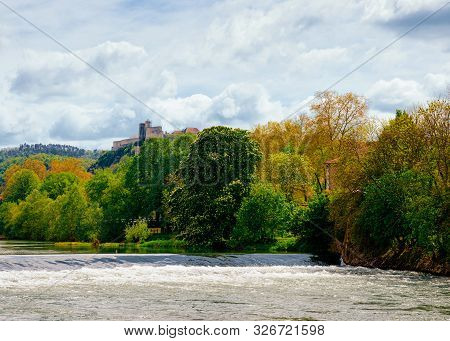 River Doubs And Citadel Of Besancon In Bourgogne