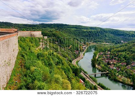 Citadel In Besancon And River Doubs In Bourgogne