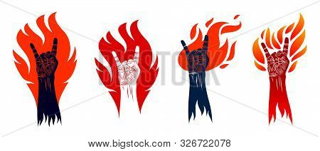 Rock Hand Sign On Fire Set, Hot Music Rock And Roll Gesture In Flames, Hard Rock Festival Concert Or