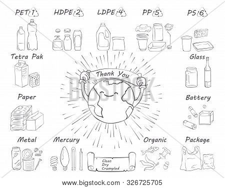 Recycling Materials Icons. Vector Illustration, Line Design, White Isolated. List Of Materials: Meta