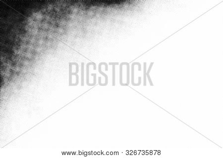 Vintage Black And White Halftone Vector Texture. Abstract Splattered Background For Vignette Corner