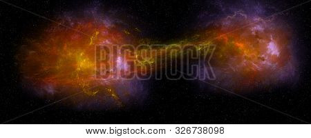 Extremely Detailed And Realistic High Resolution Illustration Of Two Merging Galaxies. Shot From Spa