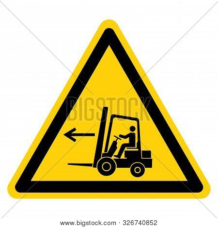 Warning Forklift Point Left Symbol Sign,vector Illustration, Isolated On White Background Label. Eps