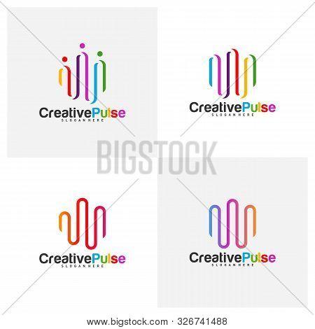 Colorful Pulse Logo Concepts Vector. Pulse People Logo Design Template Vector. Sound Waves Vector Il