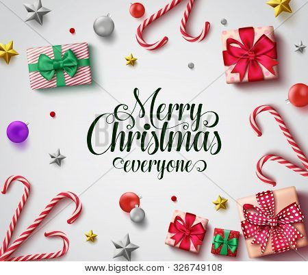 Christmas Vector Background Design. Merry Christmas Everyone Greeting Text With Colorful Decoration