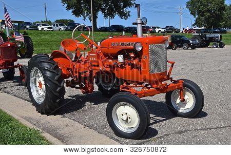 Yankton, South Dakota, August 19, 2106: The Restored  Orange Allis Chalmers Ca Tractor Is Displayed
