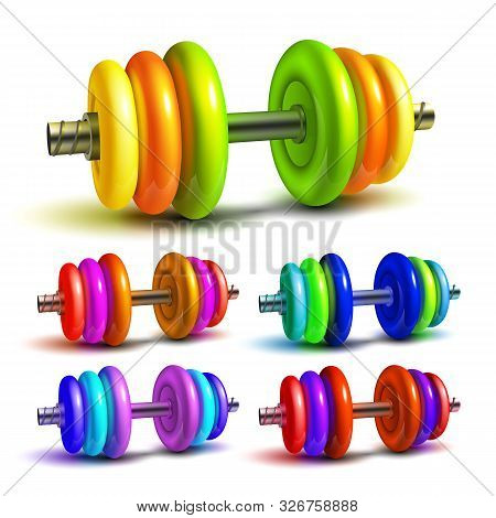 Dumbbell Lifting Sportive Equipment Set Vector. Collection Stylish Dumbbell Barbell With Attractive