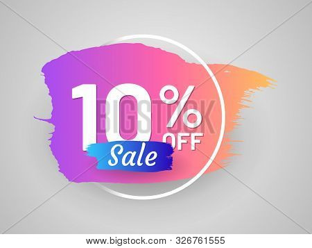 Discount Sale Tag With Round Frame And Paintbrush Stroke. 10 Percent Off Banner. Flat Gradient Desig