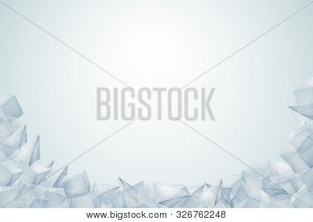 Ice Heap. Transparent Icy Pile. Vector Illustration. Winter Desin.