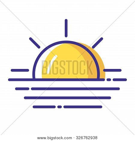 Simple Weather Icon - Outline Filled Colorful - Forecast Sing With Blue Sun And Fog Or Mist, Haze, C