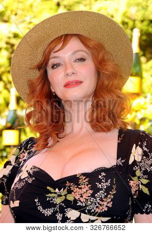Christina Hendricks at the 10th Annual Veuve Clicquot Polo Classic held at the Will Rogers State Historic Park in Pacific Palisades, USA on October 5, 2019.