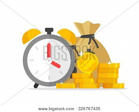 Time And Money Savings Vector Illustration, Flat Cartoon Timer Or Alarm Clock With Lots Of Cash, Fin