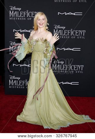 actress Elle Fanning at the World premiere of 'Maleficent: Mistress Of Evil' held at the El Capitan Theatre in Hollywood, USA on September 30, 2019.