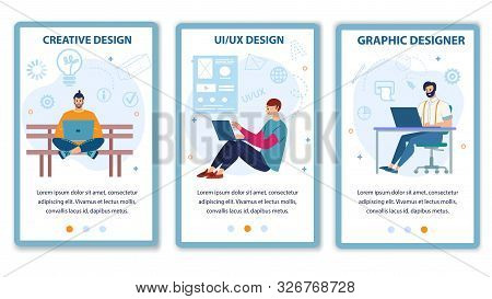 Mobile Landing Page Flat Set Offer Computer Graphic, Ui Ux Design Service. Cartoon Designers And Pro