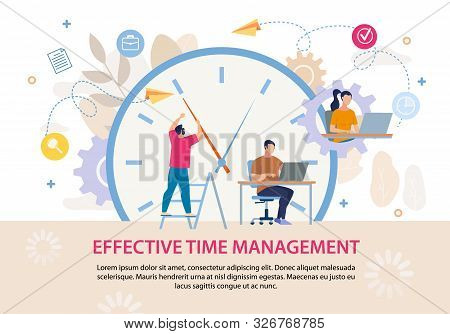 Effective Time Management Advertising Text Poster. Business People Working On Laptop. Huge Alarm Clo