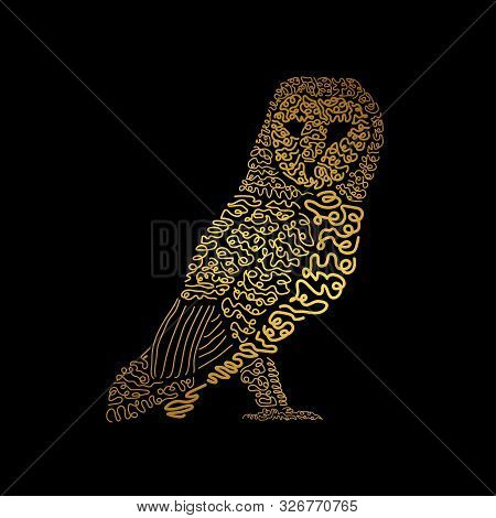 Hand Drawn Owl Bird. It Can Be Used For Print Design. Vector Illustration Of Owl Bird