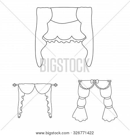 Vector Illustration Of Fabric And Decoration Logo. Collection Of Fabric And Cornice Stock Vector Ill