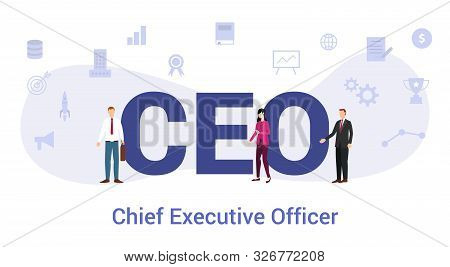 Ceo Chief Executive Officer Concept With Big Word Or Text And Team People With Modern Flat Style - V