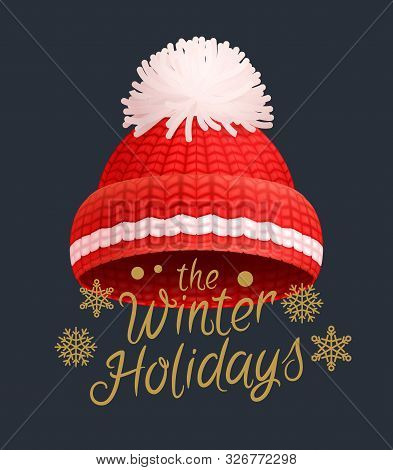 Winter Holidays Knitted Red Hat With White Pom-pom Vector. Warm Headwear Item, Wintertime Cloth Thic