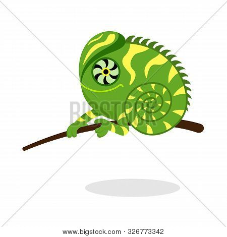 Cute Iguana In Flat Style Vector Image