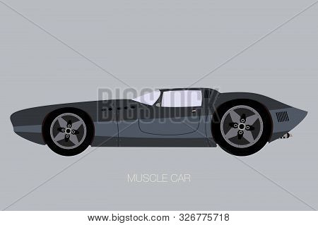 Muscle Car Fully Editable, Side View Car,  Flat Design Style