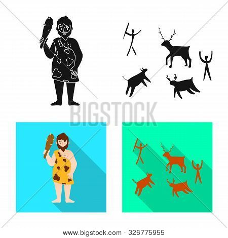 Isolated Object Of Evolution And Neolithic Icon. Set Of Evolution And Primeval Stock Vector Illustra
